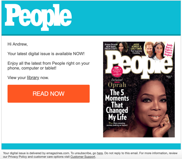 People Magazine Email Notification
